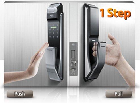 Врезной биометрический замок Samsung SHS-P718 (SHS-P910) Push Pull