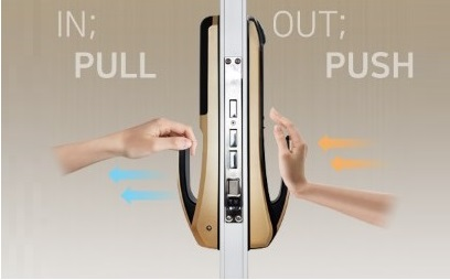 врезной биометрический push and pull замок hione h-7090sk